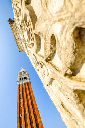 A view of the Campanile at St Marks Square in venice - italy Stock Photo