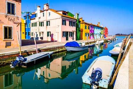 famous old town of the village burano in italy near venice
