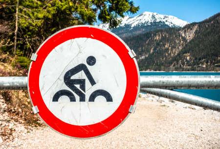 no bike sign at the alps
