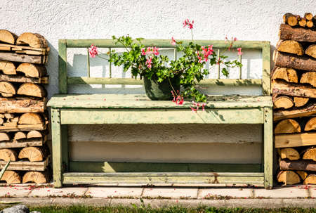 old wooden bench at a farm Stockfoto