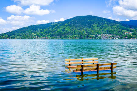 high water at the tegernsee lake - bavaria - bad wiessee Imagens