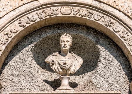 historic statue of an italian imperator - photo Editorial