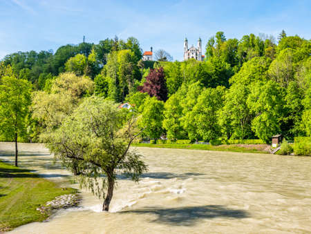 famous town bad toelz - bavaria - high water