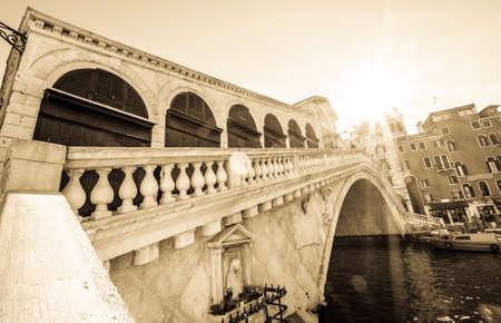 famous rialto bridge in venice - italy