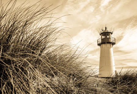 typical lighthouse at the northsea - sylt Stok Fotoğraf
