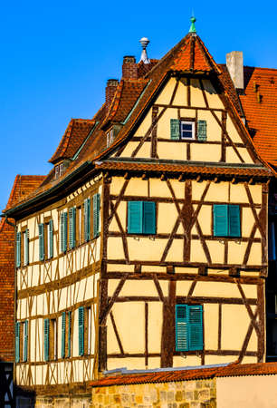 historic facade in the old town of bamberg - germany Banque d'images
