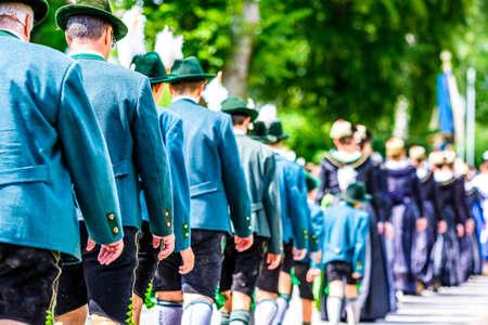 typical bavarian dirndl at a parade