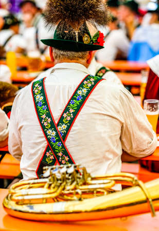 typical bavarian musician in a festival tent Stok Fotoğraf