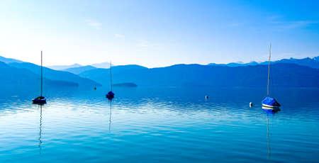 sailboats at the walchensee lake in germany - bavaria