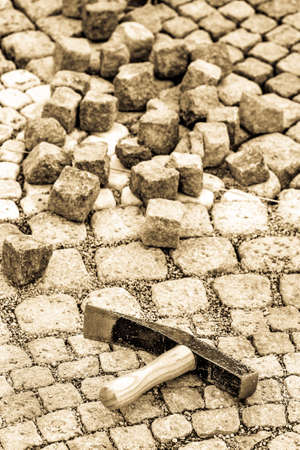 paving cobblestone at a backyard