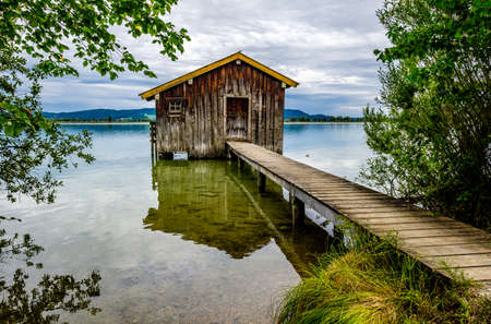 old hut at the kochel lake - bavaria
