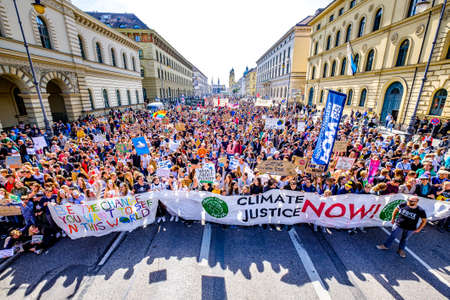 """Munich, Germany - September 20: jubilee of the """"Fridays for Future"""" protest - 30.000 participants protesting against climate policy in Munich on September 20,2019"""