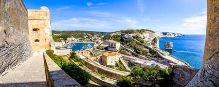 famous coastline and old town of bonifacio on corsica