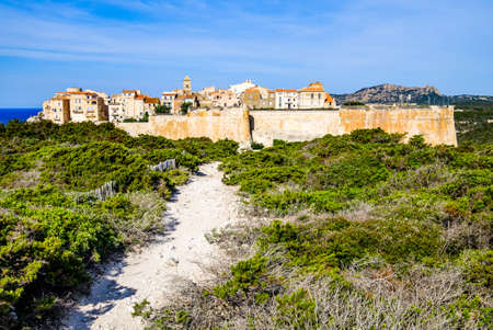 famous coastline and old town of bonifacio on corsica