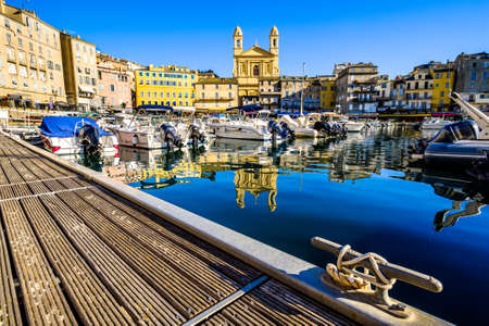 famous old town and harbor of bastia on corsica