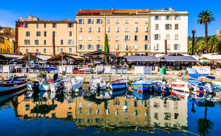 famous old town and harbor of ajaccio on corsica