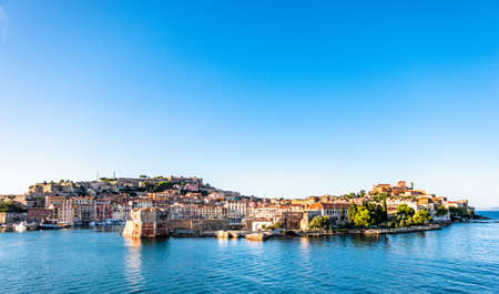famous harbor of portoferraio at the island elba in italy