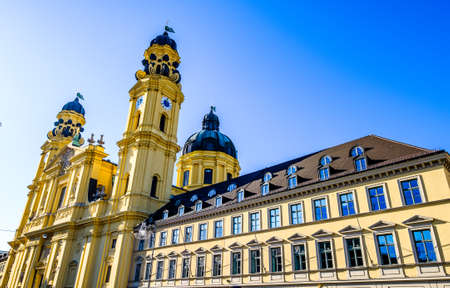 famous theatiner church and feldherrnhalle in munich - germany