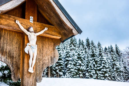 typical historic wayside cross in bavaria - germany