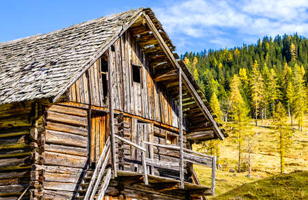 old wooden hut at the alps