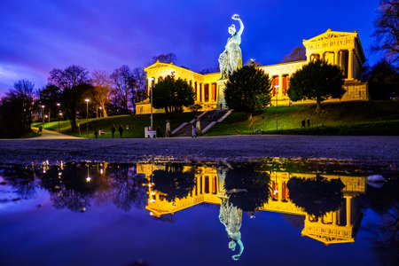famous statue of bavaria at the theresienwiese in munich - germany