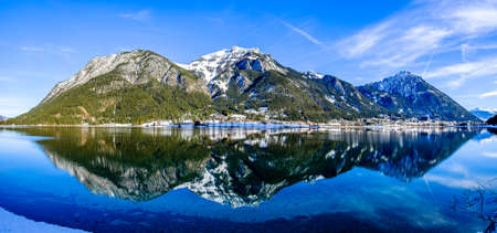 mountains at the village perstisau in austria in winter