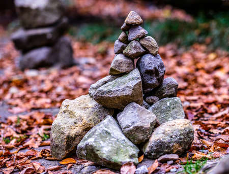 stacked rocks at a forest