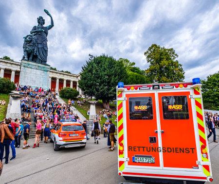 Munich, Germany - September 27: Car of the Medical Service (Ambulance) on the Oktoberfest in Munich on September 27, 2019 Standard-Bild - 140142251