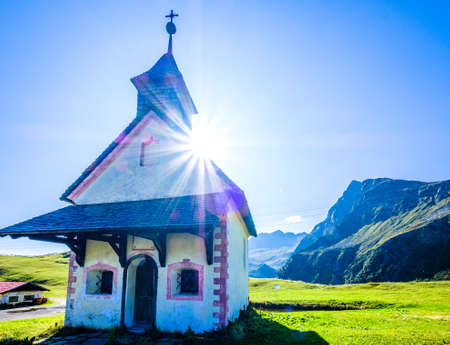 small chapel at the european alps - jaufenpass