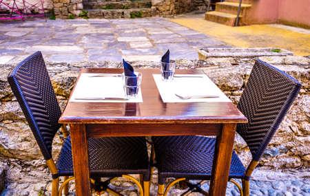 typical sidewalk restaurant in italy Stok Fotoğraf