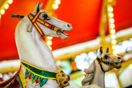 old wooden horse at a historic carousel Standard-Bild