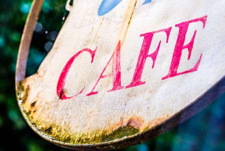 old cafe sign in austria 版權商用圖片 - 142086243