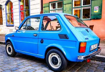 Verona, Italy - August 1: famous old fiat 500 cinquencento at the old town of verona on August 1, 2019 Redakční