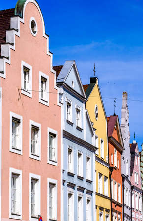 historic gothic facades at the famous old town of Landshut
