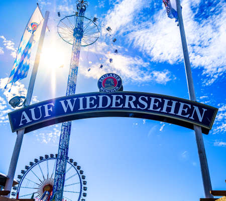 Munich, Germany - October 1: famous goodbye sign at the annual oktoberfest in Munich on October 1, 2019 新聞圖片