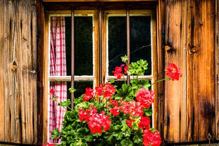 old window at a farmhouse - photo