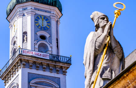 Freising, Germany - April 25: famous historic church with sign