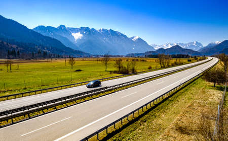 german highway at the alps - A95 before Garmisch-Partenkirchen
