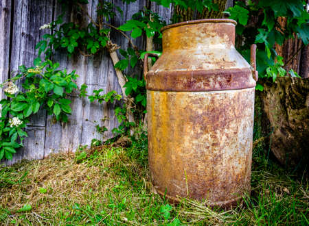 old milk can at a farm