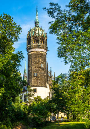 famous old town with historic buildings in Wittenberg - Germany Stock fotó