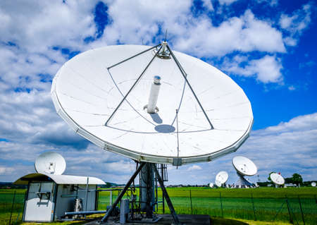 satellite dishes at the earth station in raisting - germany Stok Fotoğraf