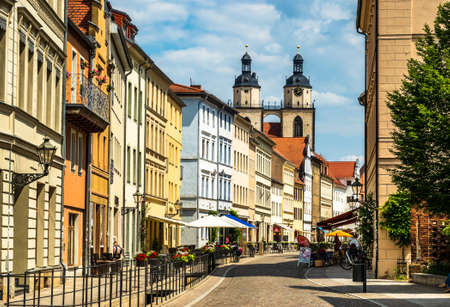 famous old town with historic buildings in Wittenberg - Germany