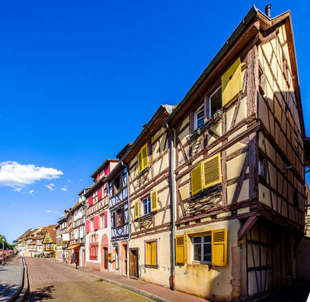 famous old town with historic halftimbered facades in colmar - france