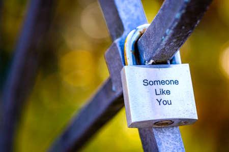 love padlock at a bridge Stock fotó