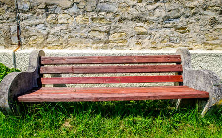 old wooden park bench - photo