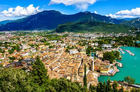 famous old village and landscape at Riva del Garda at the Garda lake 版權商用圖片