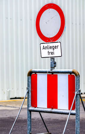 security barrier at a street - photo - translation: only for riparians