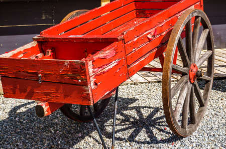 old wooden cart at a farm Stock Photo