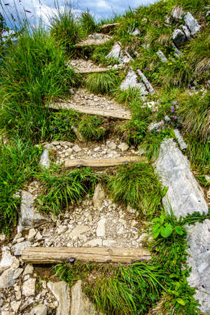 old footpath at the european alps - photo