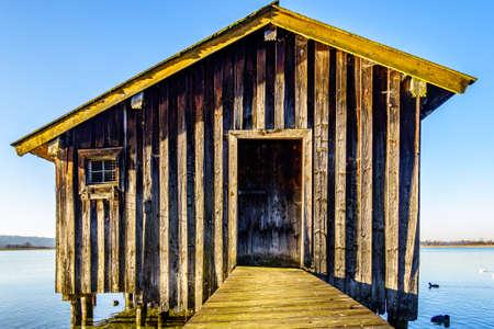 old hut at the kochel lake - bavaria - germany